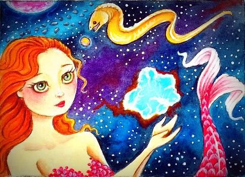 Redheaded Mermaid in Space by Debrah Nelson