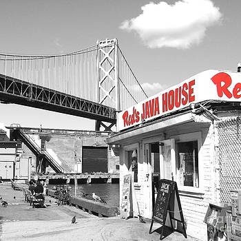 Wingsdomain Art and Photography - Reds Java House and The Bay Bridge in San Francisco Embarcadero . Black and White and Red . Square