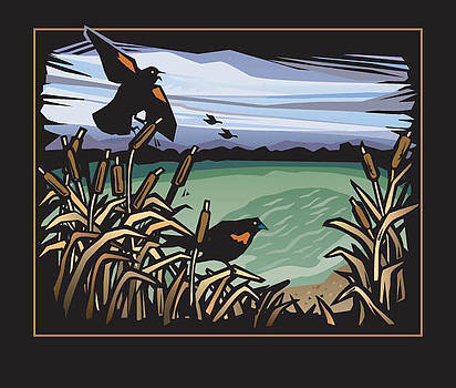 Redwing blackbirds in Cattails by Renee Peterson