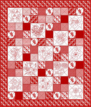 Redwork Floral Quilt by Margaret Newcomb