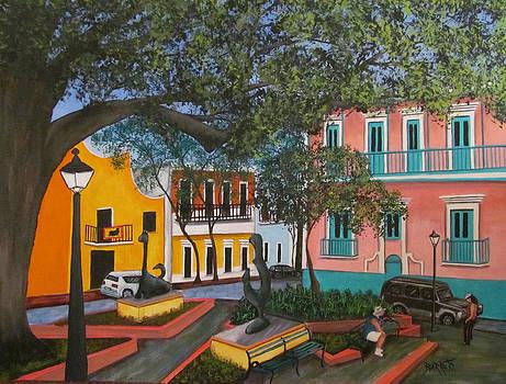 Relaxing in Old San Juan by Gloria E Barreto-Rodriguez