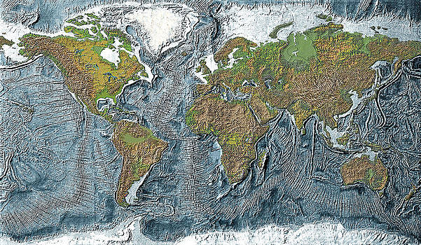Relief map of the Earth by Carol and Mike Werner