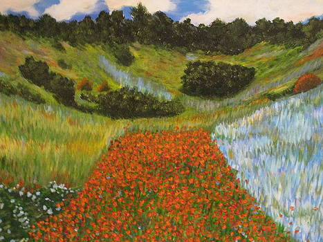 Rendition of Monet's Poppy Field in a Hollow Near Giverny by April Maisano