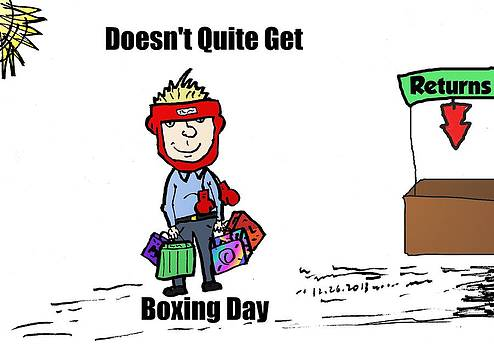 Returns on Boxing Day cartoon by OptionsClick BlogArt