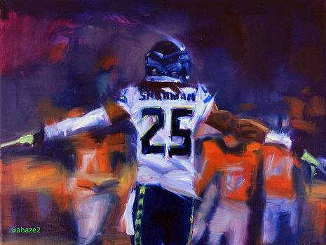 Richard Sherman Super Bowl by Aaron Hazel
