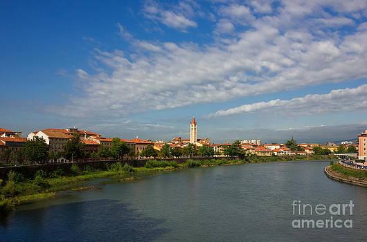 River Adige Panoramic View in Verona by Kiril Stanchev