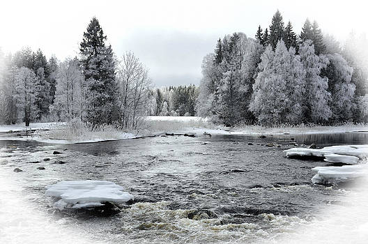 River in winter. Textured by Conny Sjostrom