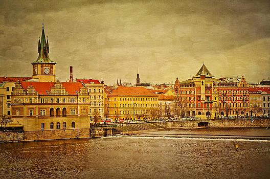 Riverside in Prague by Kim Fry