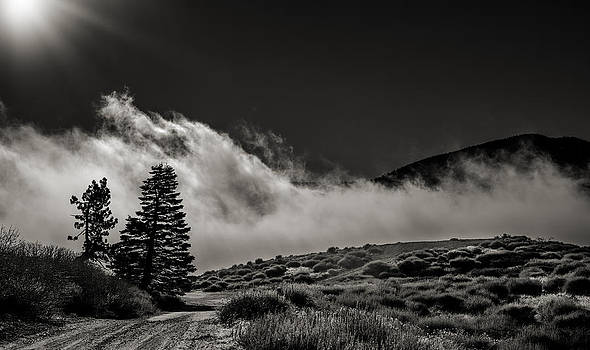 Road into the clouds in Wrightwood California by Kim M Smith