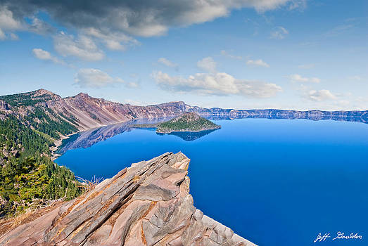Rock Outcrop Overlooking Crater Lake by Jeff Goulden