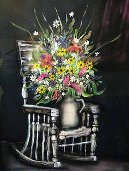 Rocking Chair With Flowers by Kendra Sorum