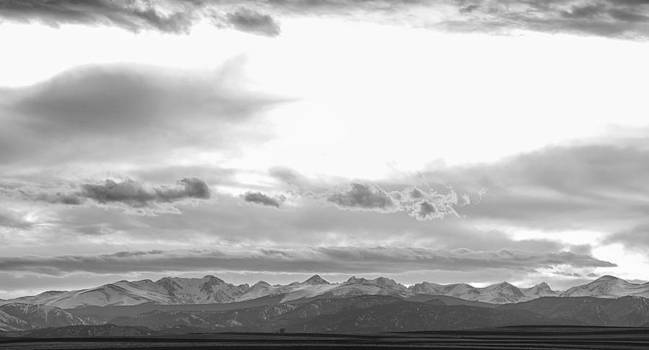 James BO  Insogna - Rocky Mountain Lookout Sunset Panorama BW