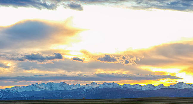 James BO  Insogna - Rocky Mountain Lookout Sunset Panorama