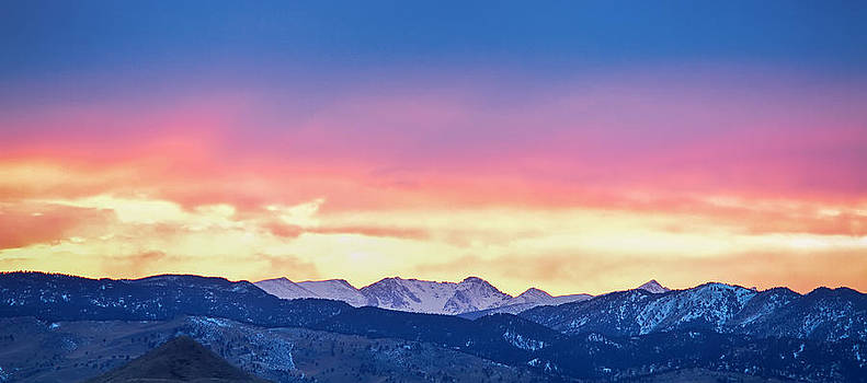 James BO  Insogna - Rocky Mountain Sunset Clouds Burning Layers  Panorama