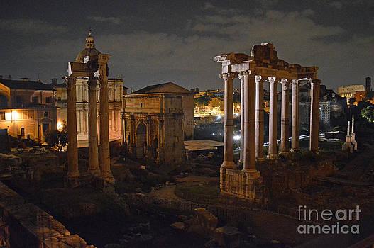 Roman Forum at Night 2 by Nancy Bradley
