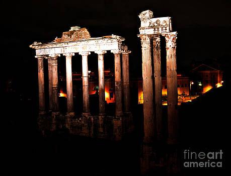 Roman Forum at Night by Nancy Bradley