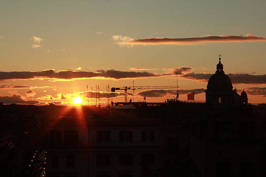 Italian Sunset Silhouette in Rome Italy by Lisa Anne McKee
