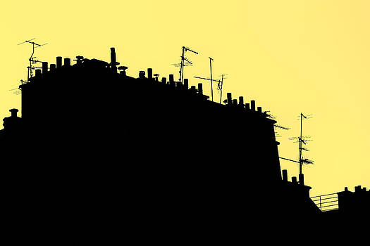 Roofs in Paris Stylized. Silhouette on Yellow Background by Francesco Rizzato