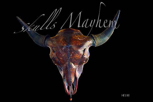 Root Beer Brown and Silver Illuminating Buffalo Skull by Mayhem Mediums