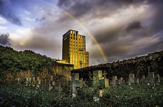 Rosa Toren Sittard At Sunset With Rainbow by Libor Bednarik