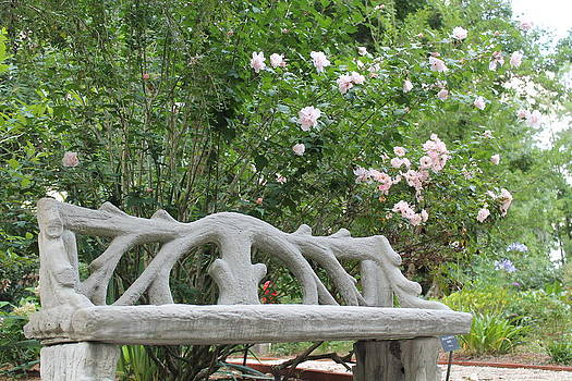 Rose-shaded Bench by Kay Mathews