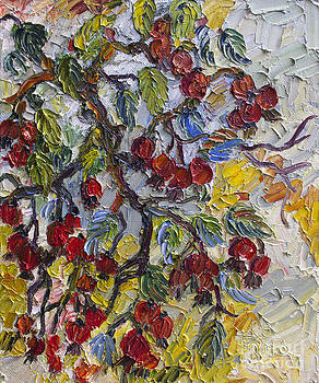 Ginette Callaway - Rosehips Modern Impressionist Oil Painting