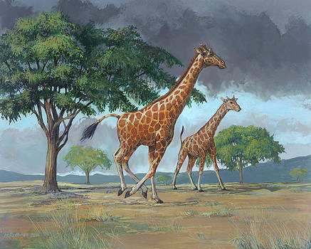 Rothschild's Giraffe by ACE Coinage painting by Michael Rothman