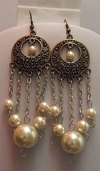 Round Brass Filigree Pearl Silver Chandelier Earrings  by Kimberly Johnson