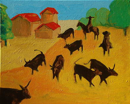 Round up of the Bulls 3 painting by Bertram Poole by Thomas Bertram POOLE