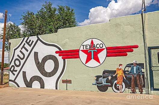 Route 66 Mural with Texaco Sign by Sue Smith