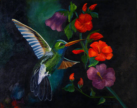 Rubythroated Humming Bird and Hibiscus by J Cheyenne Howell