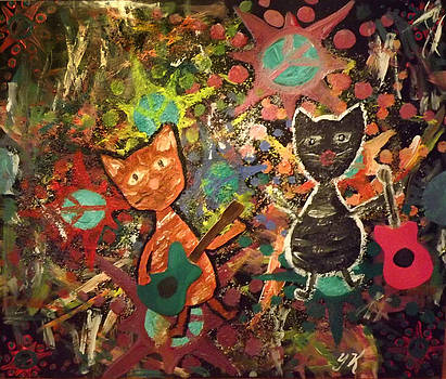 Rudy and Sketch Electric Cats by Yvonne  Kroupa
