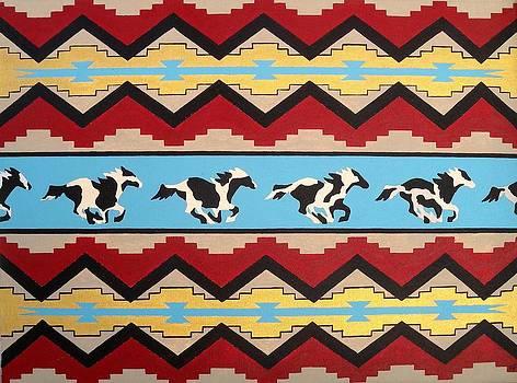 Running Pinto horses by Paul Ferrara