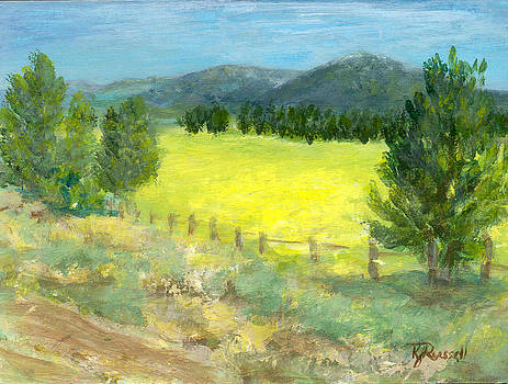 Rural Landscape Colorful Original Painting Ranch Fields Trees by K Joann Russell