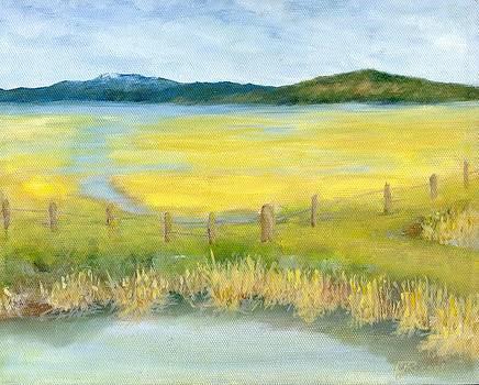 Rural Landscape Original Oil Painting Oregon Water Fields by K. Joann Russell by K Joann Russell