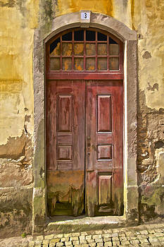 David Letts - Rustic Red Wood Door of the Medieval Village of Pombal
