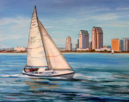 Sailboat and San Diego Skyline by Robert Gerdes