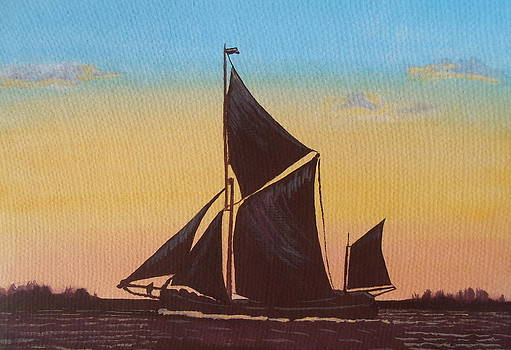 Elaine Jones - Sailing Barge at Sunset