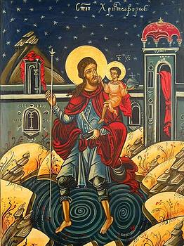 Saint Christopher and the Christ Child Romanian Byzantine Icon handmade painting by Denise ClemencoIcons