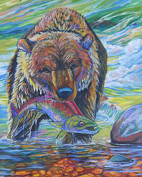 Salmon Fishing Grizzly by Jenn Cunningham
