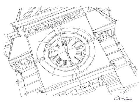 Samford Clock Sketch by Calvin Durham
