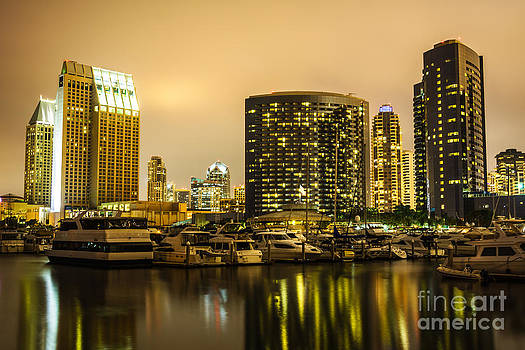 Paul Velgos - San Diego at Night with Luxury Yachts