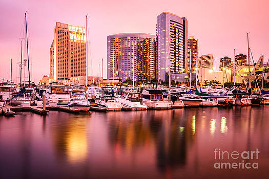 Paul Velgos - San Diego at Night with Skyline and Marina