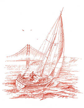 Irina Sztukowski - San Francisco Bay Sailing To Golden Gate Bridge