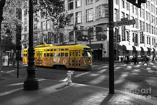 Wingsdomain Art and Photography - San Francisco Vintage Streetcar on Market Street - 5D19798 - Black and White and Yellow