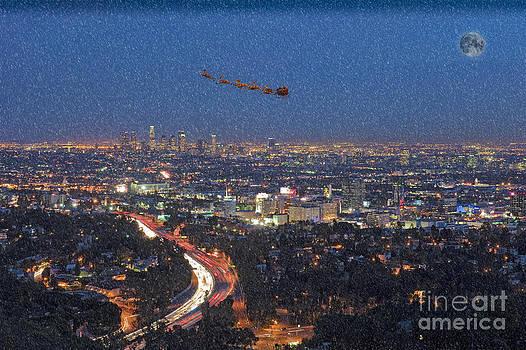David Zanzinger - Santa Flying over Los Angeles