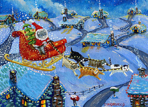 Santa Kitty's Sleigh by Jacquelin Vanderwood