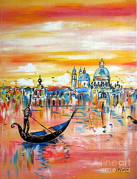 Santa Maria della Salute and the Gondola in Venice by Roberto Gagliardi