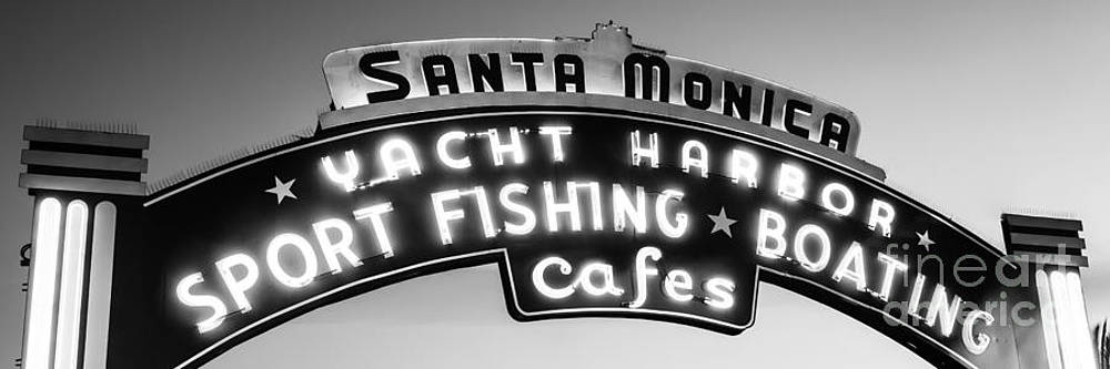 Paul Velgos - Santa Monica Pier Sign Panoramic Black and White Photo