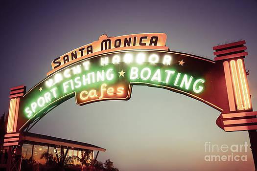 Paul Velgos - Santa Monica Pier Sign Retro Photo